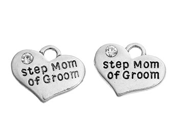 """2 Pieces Antique Silver Rhinestone """"Step Mom Of Groom"""" Wedding Heart Charms"""
