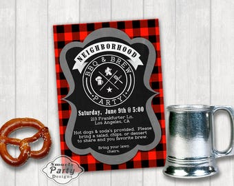 BBQ n Brew Invitation   Block Party   Family Neighborhood Rustic Chalkboard Invite Printable Personalized Customized 5x7 or 4x6