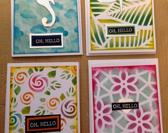 Set of 4 Handmade note Greeting  Cards