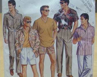 FREE SHIPPING! McCall's 3080 Mens shirt pants shorts sewing pattern Extra Large 42 44 UNCUT