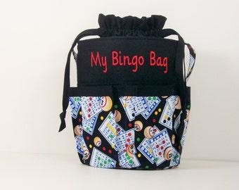Monogrammed DRAWSTRING Bingo Bag Tote/ Craft Bag in Bingo Cards