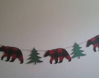 Lumberjack Bear Banner-Buffalo Plaid Bear and Tree Garland-Buffalo Plaid Bear Mantle Banner-Buffalo Bear Christmas Banner-Black Bear garland