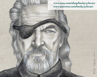 Jeff Bridges, True Grit, Original Drawing