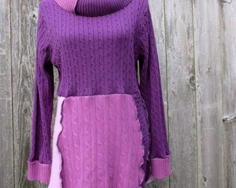 Plus Size Tunic Top - Women's Apparel - Gypsy Clothing - Upcycled Sweater - Purple Rose Pink Mauve - Casual Clothes - Feminine Fashion