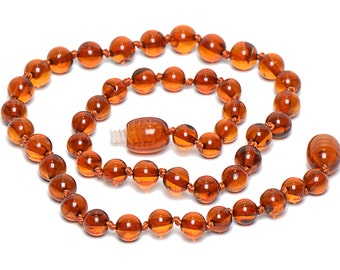 Amber teething necklace for baby - Handmade Baltic Amber Teething Necklace - Genuine Amber