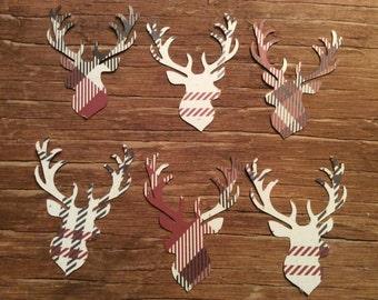 Plaid custom deer head die cuts cut outs confetti