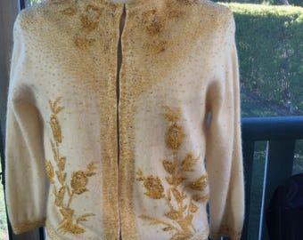 1950s beaded cashmere cardigan cream / gold M-L