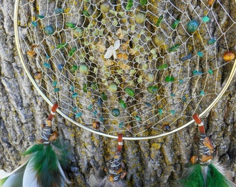 Emerald Dreams Hand-Woven Silver Bohemian Tribal 6 Inch Dream Catcher by The Emerald Lotus
