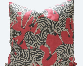 Decorative, Designer Red Zebra Pillow Cover, 18x18, 20x20, 22x22 or Lumbar, Animal Throw Pillow