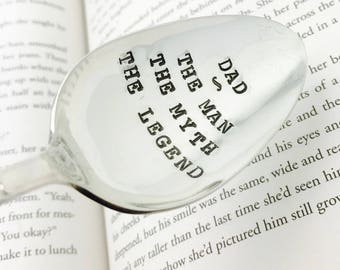Gift for Dad, Dad The Man, The Myth, The Legend Stamped Spoon, Gift for Dad, gift for Father, Gift for Grandpa, Gift for Him