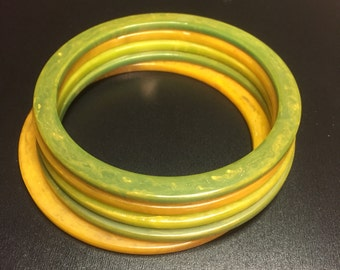 Vintage Green and yellow Spacer Stack of 5 Bakelite Bangle Bracelet