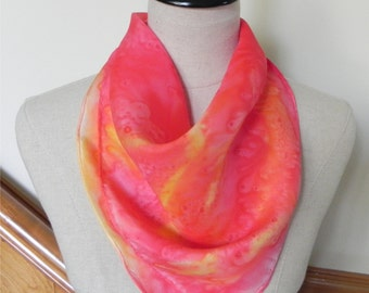 Hand painted square silk scarf in shades of golden yellow, orange, pink and red is ready to Ship, Brilliant Sunset