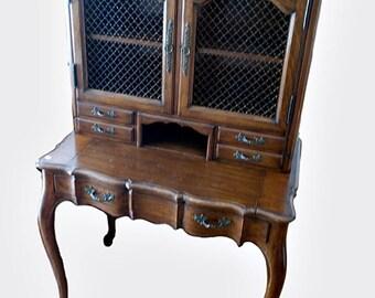 Mid Century French Provincial Style Secretary Desk