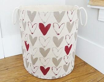 "Extra Large Hamper, Laundry Basket, Fabric Organizer, Toy Nursery Fabric Hamper - Scandinavian Heart Fabric  20"" Tall"