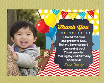Curious George Birthday Thank You Card