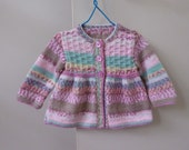 Smock style sweater for baby to 3 months | fairisle baby handknit | pink and green sweater for girl 0 to 3 months