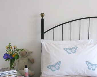 Pillow cases, Set of Two, hand printed, butterflies
