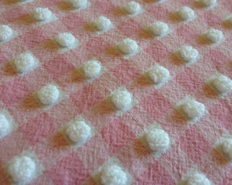 Pink Morgan Jones Gingham Chenille Vintage Bedspread Fabric Piece...12 x 18""