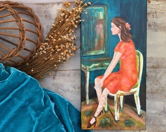 Woman Art Lady In Dressing Room Feminine Art Painting Original Artwork Beautiful Tonight