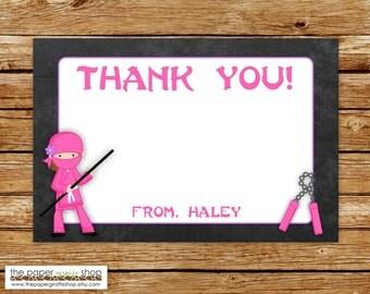 Ninja Thank You Card | Ninja Party Theme Chalkboard Thank You Card | Pink Ninja Thank You Card