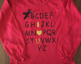 Girls Valentines Day T-shirts Alphabet vinyl letters- your choose of T-Shirts style.  So adorable for your little girl.