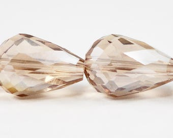"""Crystal Teardrop Beads 14x10mm (10x14mm) Colorado Topaz AB Faceted Chinese Crystal Glass Drop Beads on a 5 1/2"""" Strand with 10 Beads"""