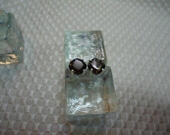 Cushion Cut Smoky Quartz Earrings in Sterling Silver   #1977
