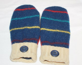 Blue Felted Mittens - Upcycled Wool Mittens  - Sweater Mittens - Wool Felted Mittens - Women and Teens -  Size Medium