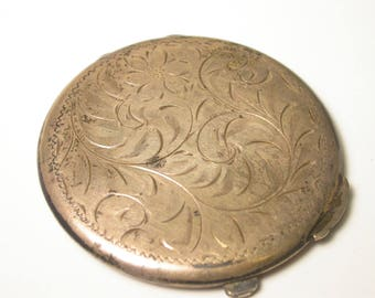 Vintage Sterling Silver Powder Case Compact - Weight 53.6 Grams - Silver Compact # 869