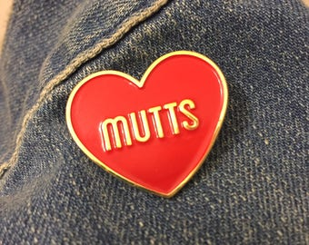 I Heart Dogs Mutts Red Soft Enamel Lapel Pin