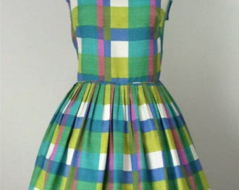 50s pastel plaid spring Sundress/ 50s plaid dress