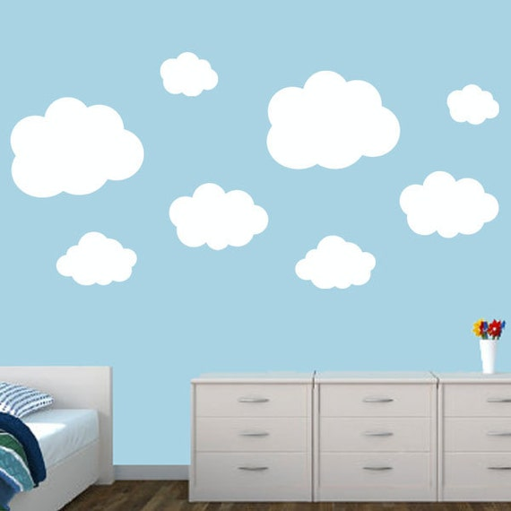 Clouds Decal Set (8) - nursery clouds - Kids Wall Decals - Puffy Clouds Decals