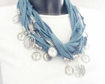 FIBER SCARF NECKLACE, fabric cotton cord with metal disc necklace, multi thread fabric necklace with pendants, ideal gift for her