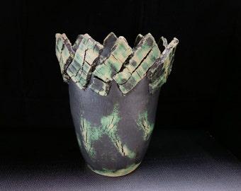 ChingWenArts handmade stoneware Bowl Pot Signed, Green,# E170