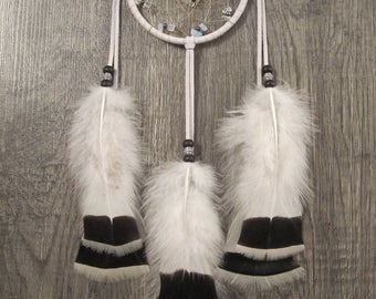 Dream Catcher White Deerskin with Rare Heritage Royal Palm Turkey Flats ~ Cruelty Free