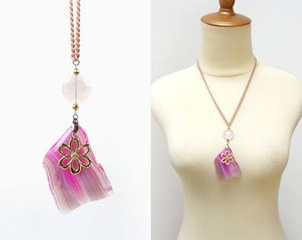 Sweet Pink Agate Stone Slab Pendant Necklace with Rose Quartz and Gold Flower Petal Charm