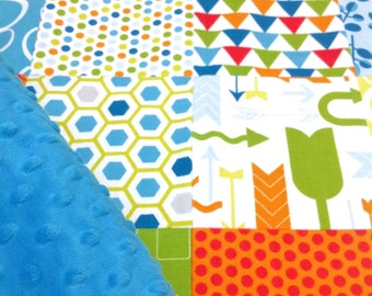 Patchwork Baby/Toddler Minky Blanket -Perfect Crib, Stroller blanket *Ready to ship*