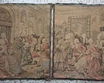 Sublime rare antique pair tapestry panel French textile edwardian bourgeoise home Paris decor shabby chic timeworn fabric Aubusson colors