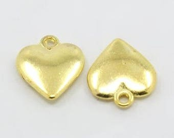 Heart Charms Heart Pendants Gold Heart Charms Puff Heart Charms Gold Charms Love Charms Wholesale Charms BULK Charms 50 pieces