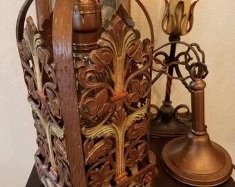 Antique Spanish Revival Tudor Gothic Art Nouveau Hanging Light Chandelier Pendant