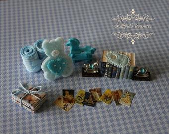 Dollhouse miniature set for baby boy 5 - IT'S A BOY- OOAK
