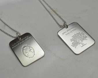 Sterling Silver Custom Etched Dog Tag Necklace, Quote Necklace, Literary Necklace, Stamped Jewelry, Message Necklace, Men's, Groomsman Gifts