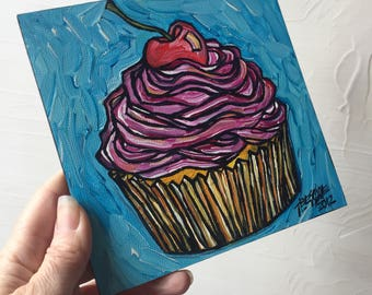 Pink Cupcake with Cherry original painting