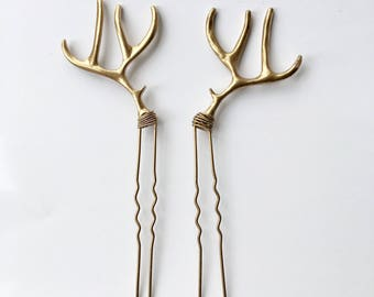 Gold painted antler bobby hair pins