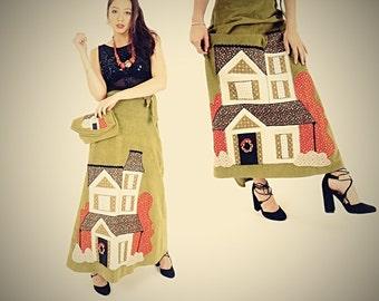 Handmade Wrap Skirt - Home is Where the Heart it - Corduroy Maxi Skirt - Hippie Boho Style - Avocado Green