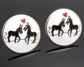 Horse Heart Cufflinks Sweethearts Equestrian Vintage Jewelry Enamel H868