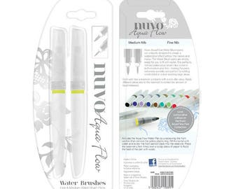 Nuvo Aqua Flow Water Brush Pens - Set of 2 -  Tonic Studios - Fine and Medium Brush Tips - Empty - Fill With Water