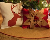 Christmas Tree Skirt | Burlap Tree Skirt | Red and Gold Piping | Optional Custom Name | Initial