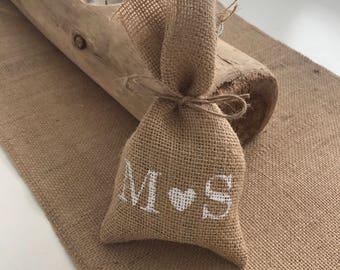 50 x Hessian/Burlap Initial Wedding Favour Bags