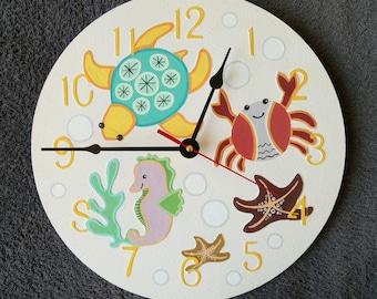 The Sea Animals Wall Clock, Ocean Home Decor for Children Baby Kid Boy Girl, wall clocks handmade